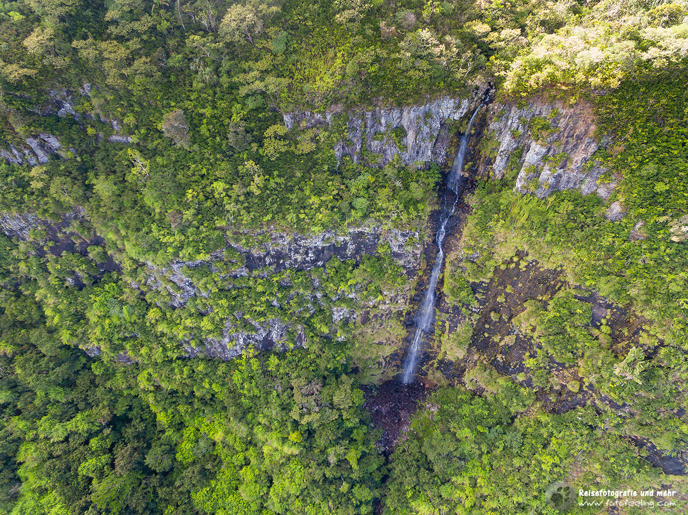 Wasserfall am Gorges Viewpoint, Aerial view, Mauritius